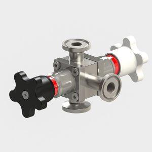 Diaphragm star valve 3-way