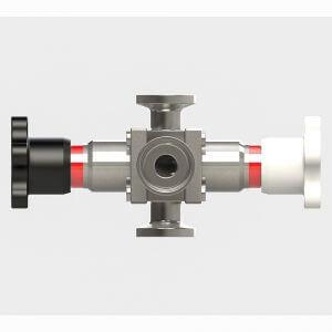 Side view diaphragm star valve 3-way