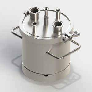Small sterile vessel, standard, with head plate with central harvesting tube